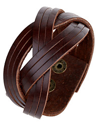 Pure Grain Leather Cutting Band Wrap Wide Band Bracelets