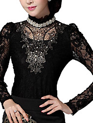 Women's Lace Black Blouse , Stand Long Sleeve