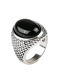 Men's Fashion Minimalist Luxury Style Oval Polished Surface Alloy Jewels Ring