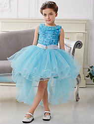 Cosplay Costumes Princess / Fairytale Movie Cosplay Blue Solid Dress Halloween / Christmas / New Year Kid Organza