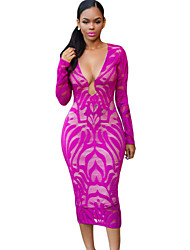 Women's  Deep Fuchsia Lace Nude Low Neckline Midi Dress