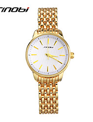 SINOBI® Ladies Quartz Watches Women Watch Yellow Gold Color Watchband White Surface Female  Fashion Wristwatches Reloj Cool Watches Unique Watches