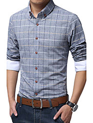Men's Long Sleeve Shirt , Cotton / Linen Casual / Work / Formal / Plus Sizes Print / Striped / Plaids & Checks / Pure