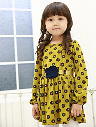 Girl's Fashion And Fresh Small Flower Long-Sleeved Dress