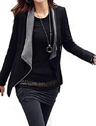 Women's Long Sleeve Cotton Blends Coat , Casual