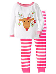 Christmas 1-5Y Kids Clothes Set Spring Autumn Cotton Fabric Baby Girl Boy Clothes Clothes Shirt+Pants Sets