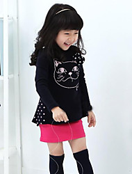 Girl's Spring / Fall Bowknot Is Kitten Dovetail Dress Long-Sleeved Dress