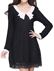 Women's Solid White / Black Dress , Casual Round Neck Long Sleeve
