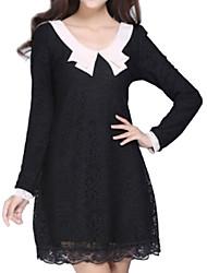 Damen Kleid - Übergrößen Leger Solide Mini Baumwoll-Mischung Rundhalsausschnitt