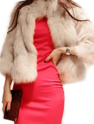 Women's Formal / Club Sexy Fur Coat,Solid Standing Collar ¾ Sleeve Fall / Winter Brown Faux Fur Medium