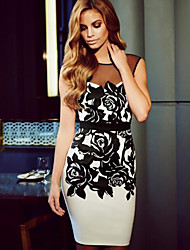 Women's Print Slim Fashion Vintage Party Round Neck Bodycon Backless Sleeveless Dress