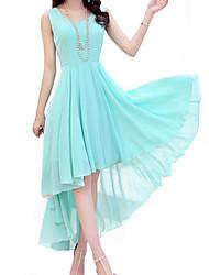 Women's Vintage Party Micro Elastic Sleeveless Midi Dress (Chiffon)