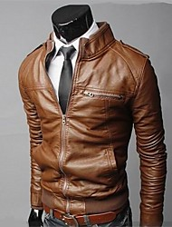 Men's Casual Washed Leather Motorcycle Jacket , Lined