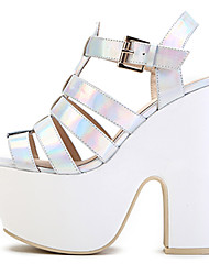 Women's Shoes Leather Chunky Heel Heels / Platform Sandals Party & Evening / Dress / Casual Black / White / Silver /