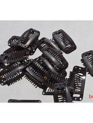 20 pcs clipes para a extensão do cabelo e extensões de cabelo de penas perucas trama clipe de pressão de aço marrom para uso DIY