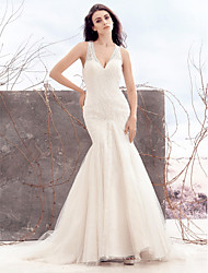 Mermaid / Trumpet V-neck Sweep / Brush Train Lace Tulle Wedding Dress with Lace by LAN TING BRIDE®