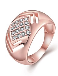 Fashion Women's Hollow Rhombic White Zircon Gold-Plated Brass Statement Rings(Golden,Rose Gold,)(1Pcs)