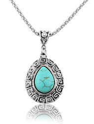 HUALUO®Fashion Retro Pattern Turquoise Earrings Teardrop-shaped Necklace