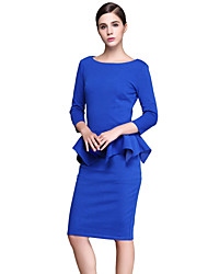 Womens Elegant  Ruffles Peplum Vintage Casual Wear To Work Office Business Party Bodycon Pencil Sheath Dress