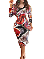 Women's Club Sheath Dress,Floral Round Neck Knee-length Long Sleeve Multi-color Cotton Fall
