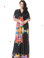 Women's Casual / Day / Boho / Beach Floral Trumpet/Mermaid Dress , V Neck Maxi Spandex
