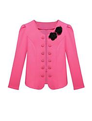 Women's Button White Black Pink Red Blazer, Round Neck Flower Decor Long Sleeve