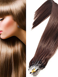 EVET Peruvian Human Virgin Hair Straight Micro Ring Hair Extensions Micro Loop 0.5G/Strand 50G/Lot