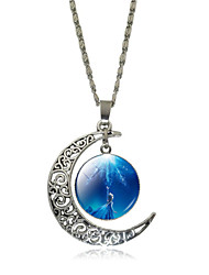 HUALUO®Hollow Carved Moon Time Gemstone Necklace