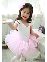 Ballet Dresses Children's Performance Cotton / Tulle Cascading Ruffle 1 Piece White