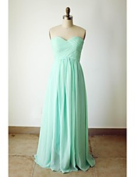 Floor-length Chiffon Bridesmaid Dress - A-line Sweetheart with Criss Cross