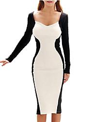 Women's Work Bodycon / Trumpet/Mermaid Dress,Patchwork V Neck / Deep V Knee-length Long Sleeve Blue / White / Beige / Black / Brown / Gray