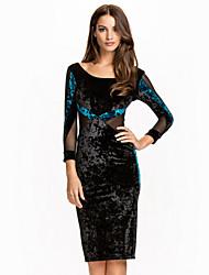 Autumn women sexy club dress 2015 O-neck, long sleeve knee length midi dress good quality fashion bodycon dress