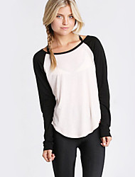 Women's Casual/Daily Simple Fall Blouse,Patchwork Round Neck Long Sleeve Black Cotton Opaque