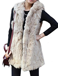 Fur Vest Faux Fur Warm Long Vest with Hood(More Colors)