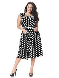 Women's Fashion Retro Pattern Color O-Neck Sleeveless Dress