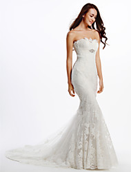 Lanting Bride Trumpet/Mermaid Wedding Dress-Chapel Train Strapless Lace