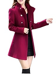 Women's Solid Blue / Red / Green Coat , Plus Sizes Long Sleeve Polyester / Wool Blends