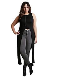 Women's Solid Black Vest , Round Neck Sleeveless