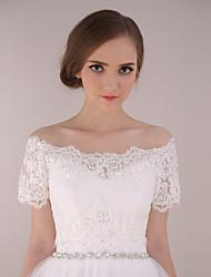 Wedding  Wraps Shrugs Short Sleeve Lace / Tulle Ivory Wedding / Party/Evening Bateau Appliques / Lace Lace-up