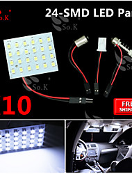 10x Super White 3528 rv plafonnier carte BA9S SMD 24LED panneau feston T10 conduit de lumière