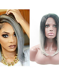 "18""-24"" Ombre Brazilian Human Hair Lace Wigs Full Lace Wigs 130% Density Brazilian Body Wave 1b/grey Human Hair Wigs"