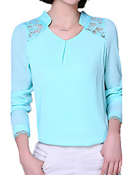 Spring Women's V Neck Long Sleeve Lace Splice Chiffon Blouse T-Shirt Casual / OL Tops