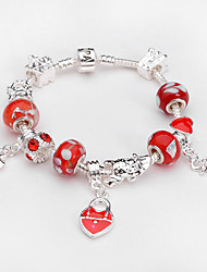 Women jewelry 925 Sterling Silver bracelet Murano Glass Crystal European Beads Strand heart charm Beads bracelets BLH035