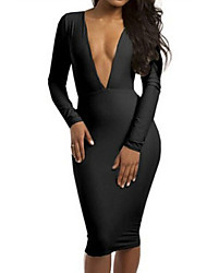 Women's Sexy Deep V Long Sleeve Slim Solid Dress