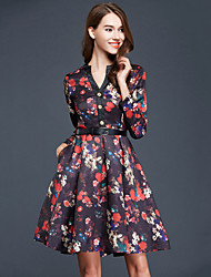 Women's Floral / Print Multi-color Big Swing Gress , Vintage / Plus Sizes POLO Collar Pleated Slim (Polyester/Cotton)