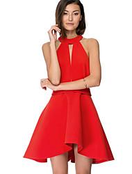 Women's Popular Sexy Hot Red Halter Backless Skater Dress