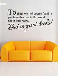 AWOO® To think Well Of Yourself Home  Wall Sticker DIY Home Decorations Quotes Vinyl Wall Decals Wall Mural Art