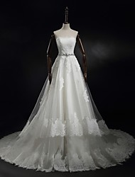 Princess/A-line Wedding Dress-Ivory Sweep/Brush Train Strapless Tulle