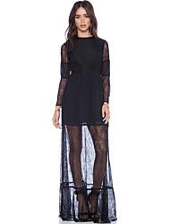 Women's Lace Black Dress , Lace / Maxi Round Neck Long Sleeve