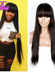 Wholesale Price Brazilian Virgin Human Hair Silky Straight Full Lace Wigs 26 Inch 130 Density Human Hair Wigs With Bangs